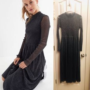 Urban Outfitters Mock Neck Glitter Maxi Gown